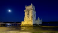 Lisbon, Portugal. Belem Tower Torre de Belem is a fortified tower located at the mouth of the Tagus River timelapse hyperlapse video