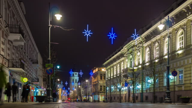 lithuania christmas holidays night traffic prospect decoration panorama 4k time lapse video