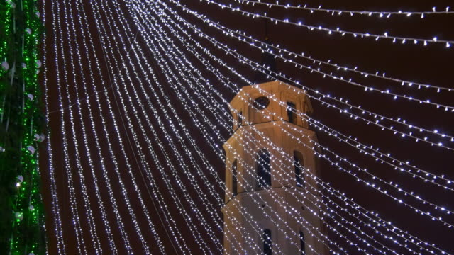 lithuania famous vilnius cathedral square christmas market illumination tower panorama 4k video