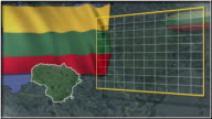 Lithuania flag and map animation video