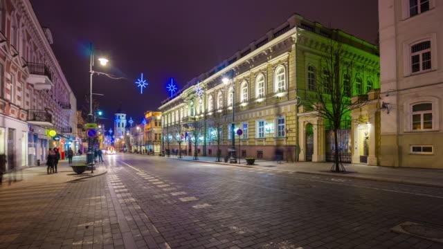 lithuania night holidays illumination vilnius city famous traffic street panorama 4k time lapse video