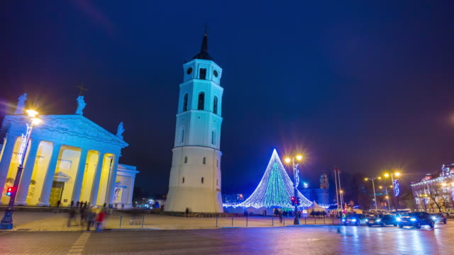 lithuania night time famous vilnius cathedral square christmas market panorama 4k time lapse video
