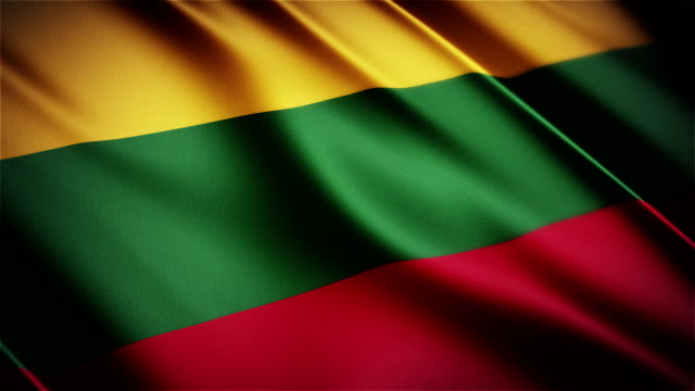 Lithuania realistic national flag seamless looped waving animation video
