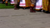 Lithuanian folk dancers performing outdoors video
