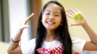 little asian boy and girl with painted palms video