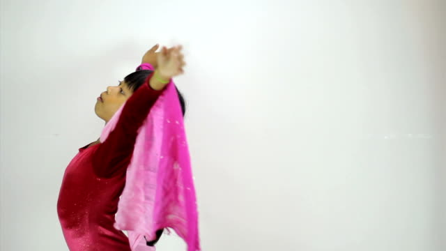 Little Asian Girl Does A Creative Dance-Side View video