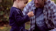 Little Blond Boy holding and looking at Fall leaf with his Father video