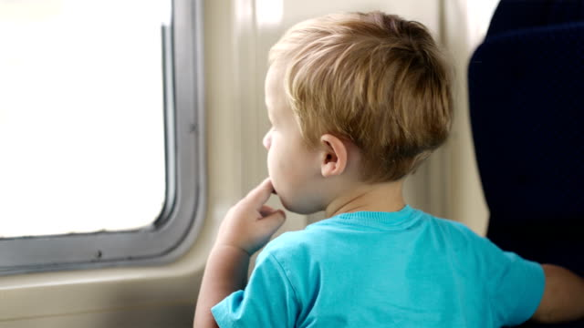 Little boy and his mother in the train. video