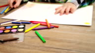 little boy drawing on white paper video