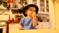 Little Boy eating cheese video