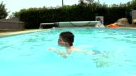 Little Boy In Outside Pool Learning To Swim video