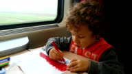 Little boy in train video
