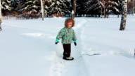 Little boy is walking in the park video