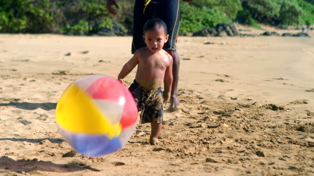LIttle boy plays with ball video