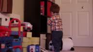 A little boy pulling books off of his bookshelf video