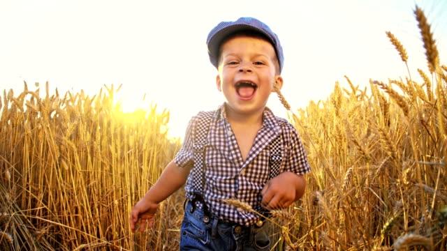 SLO MO Little boy running in wheat field video