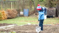 Little boy, shoveling in the garden, digging autumn time video