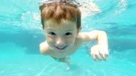 Little Boy Swimming Underwater in Swimming pool video