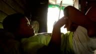 Little boy using tablet, Slow motion video