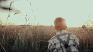 SLO MO Little boy walking in a meadow video