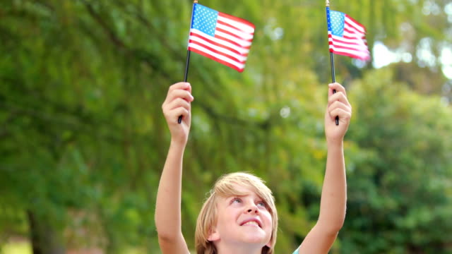 Little boy waving american flag in the park video