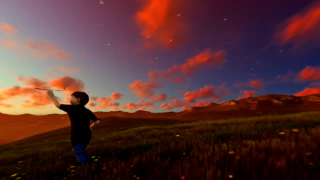Little boy with airplane on green meadow, beautiful sunset, panning video