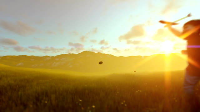 Little boy with airplane toy on a green meadow at golden hour video