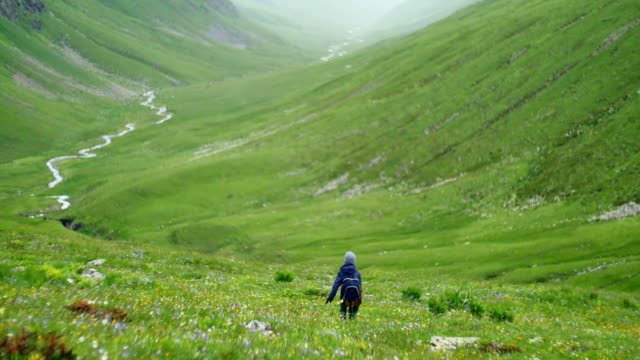 little boy with backpack hiking in scenic green mountains valley and river video
