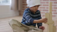 Little Boy with Cancer Playing with Blocks video