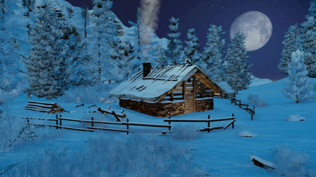 Little cabin in mountains at snowfall night video