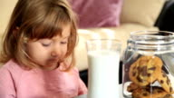 Little cute girl eating cookie and drining milk video