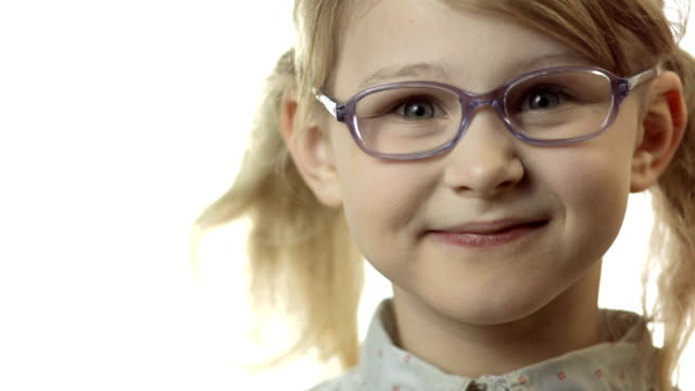HD: Little Girl Adjusting Glasses On Her Nose video
