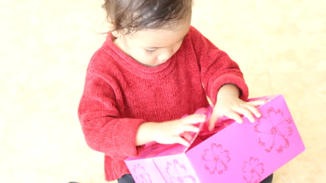 Little girl and gift video