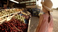 Little Girl Choosing Fruit At Farmers Market video