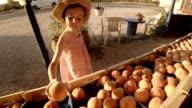 Little Girl Choosing Fruit At Farmers Market video