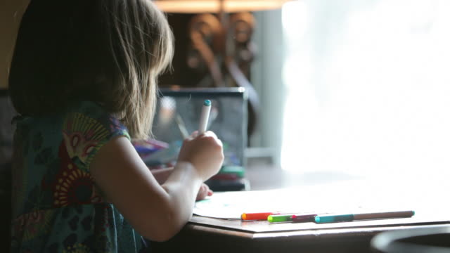 Little Girl Coloring a Picture video