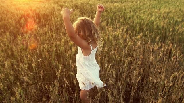 Little girl dances in a wheat field. video