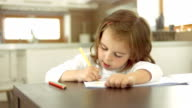 Little Girl Drawing At Home video