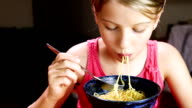 Little Girl Eating Noodles video