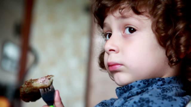 Little girl eating pancake video