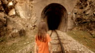 A Little Girl Enjoys Her First Journey by Train. Mountain View out the Window. video