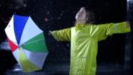 Little Girl Exposing To The Rain video