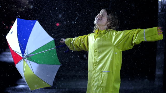 Little Girl Exposing To The Rain video