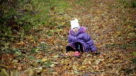 little girl fell down and crying in autumn park video