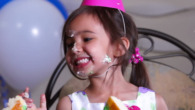 Little girl has fun at birthday party video