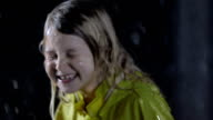 Little Girl Having Fun In The Rain video