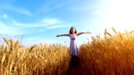 Little girl in a wheat field video