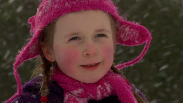 SLOW MOTION: Little girl in snowfall video