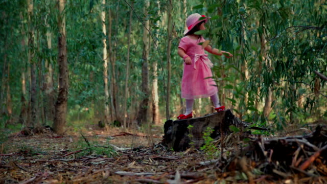 Little girl in the forest jumping from stump video