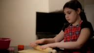 little girl kneading dough video